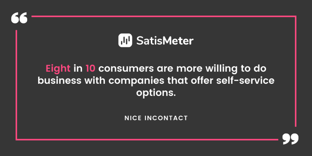 Eight in 10 consumers are more willing to do business with companies that offer self-service options.