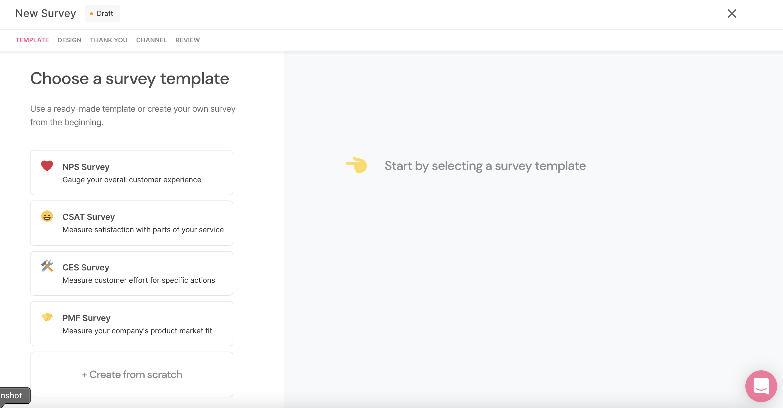 SatisMeter New Survey Designer - Choose your template