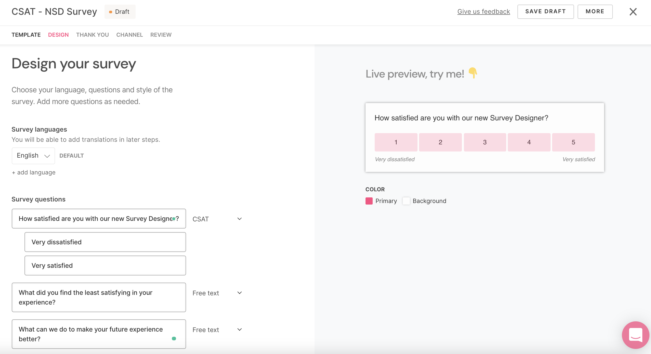 SatisMeter New Survey Designer - Edit your survey questions